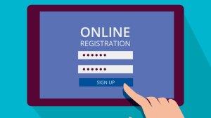 Tablet mit einem Online-Registrierungsformular